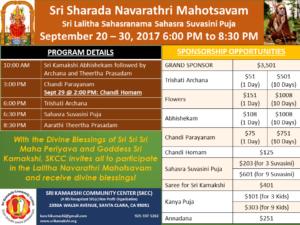 Sep 20-30: Sri Sharada Navarathri (Sri Lalitha Sahasranama Sahasra Suvasini Puja) @ SKCC
