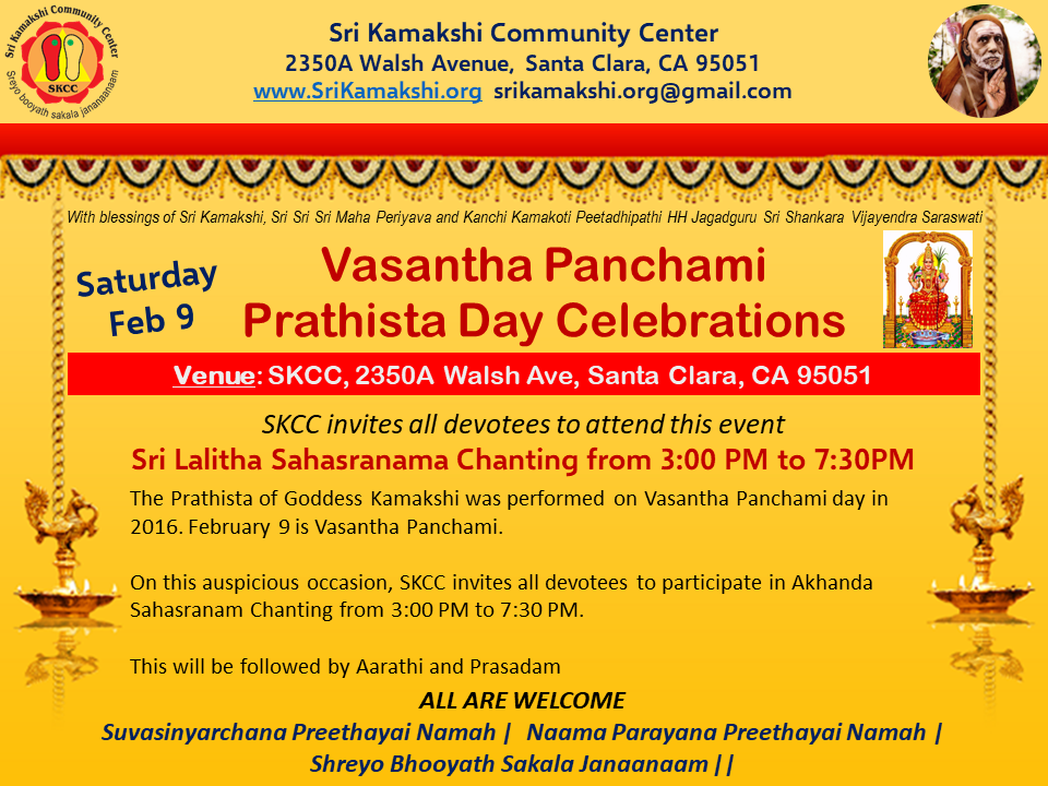 Vasantha Panchami and Prathista Celebrations @ SKCC
